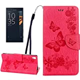 Leya Mobile Phone Cases for Sony Xperia XA Ultra Butterflies Embossing Horizontal Flip Leather Case with Holder & Card Slots & Wallet & Lanyard(Black) (Color : Magenta)