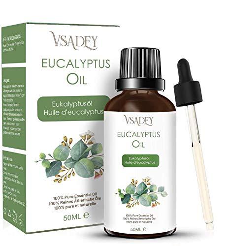 VSADEY Aceite Esencial de Eucalipto 50ml, Aceite de Eucalipto 100% Puro, Natural y Vegano, Aceite de Aromaterapia para Difusores de Calidad Terapéutica Lo Mejor para Sauna, Masajes, Bricolaje
