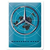 Nostalgic-Art Mercedes-Benz - Blue Map Blechschild 15 x 20 cm, Metall, Bunt, 15x20 cm
