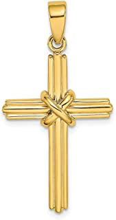 14k Yellow Gold X Center Cross Religious Pendant Charm Necklace Fancy Fine Jewelry Gifts For Women For Her