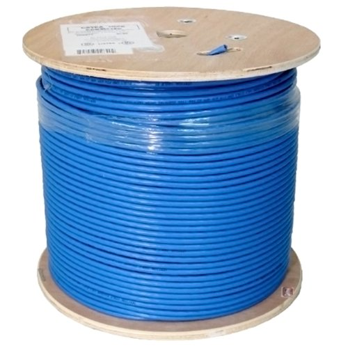 Vertical Cable Cat6A 10G, UTP, 23AWG, Solid Bare Copper, PVC, 1000ft Bulk Ethernet Cable, Blue