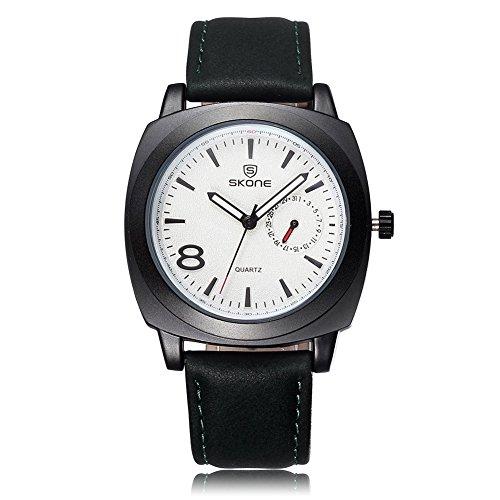 Skone hombres luminoso analógico reloj calendario especial piel sintética banda 505903(blanco)