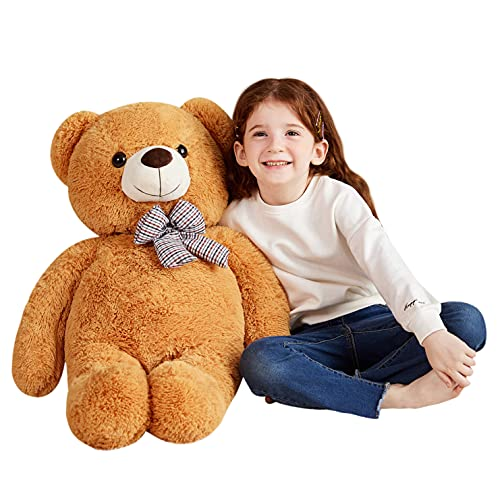 EARTHSOUND Giant Teddy Bear Stuffed Animal Big Plush Toy for Girls Large Soft Toys for Girlfriend (Brown, 30 inches)