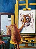 Diamond Painting Kits for Adults/kids DIY 5D Tigre Gato,Full Drill Crystal Rhinestone by Number Canvas Painting Set Embroidery Cross Stitch Arts Craft for Home Wall Decor 50x60cm(19.7x23.6in) D40799