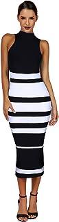 Maketina Womens High Neck Sleeveless Stripe Casual Long Bodycon Bandage Dress