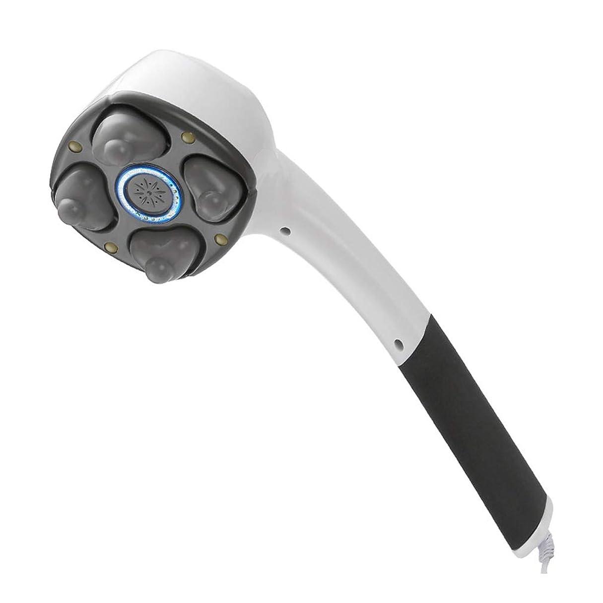 フレット強制的満員電動ハンドヘルドマッサージャー、 ポータブル4ヘッドディープティッシュ全身筋肉リラックス振動首椎骨背筋痛みリリーフ調節可能な強度