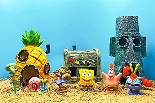 YHK Bob Esponja Fondo de Bikini Playset, la Piña de Bob Esponja y la Isla de Pascua de Calamardo y el Crustáceo Crujiente - Decoraciones para peceras de Bob Esponja