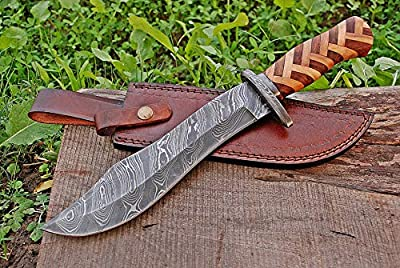 TMBrands Custom Handmade Knife - Damascus Steel Bowie Knife - Hunting Knives, Survival Knife & Camping Knife with Olive & Rosewood Handle & Damascus Guard with Leather Knife Sheath & Belt Loop