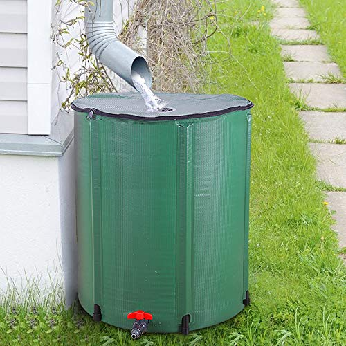 Guangshuohui Collapsible Rain Barrel, Portable Water Storage Tank, Rainwater Collection System Downspout, Water Catcher Container (50 Gallon, Green)