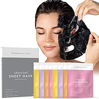 Face Mask for Korean Skincare; Sheet Mask for Detoxifying, Cleansing, Hydrating and Brightening Skin, Peel Off Charcoal Mask, Charcoal Face Mask for Brighter, Softer Skin (8-Pack)