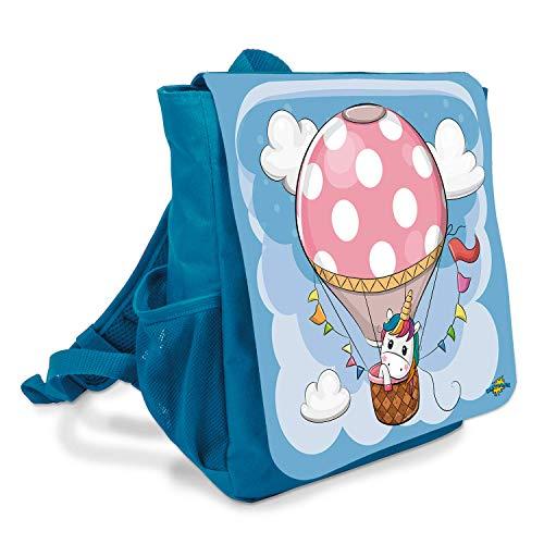Kindergartenrucksack mit Luftballon und Einhorn – Tasche für Kinder – Geeignet für Jungen und Mädchen – Rucksack für Kindergarten und Kita – Mit Brustgurt und gepolsterten Schultergurten (Hellblau)