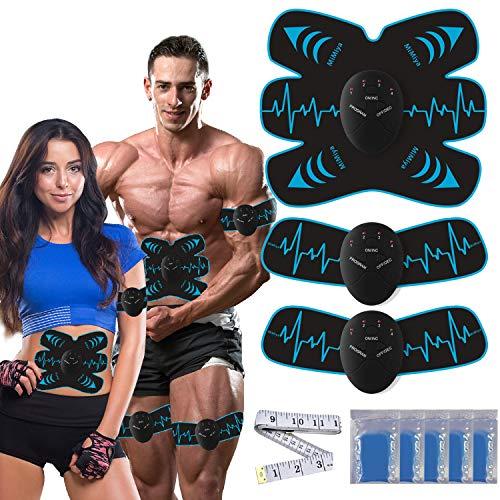 MiMiya EMS Trainingsgerät, EMS Muskelstimulator,Professional Bauch Muskel Trainer Elektrisch für Herren Damen,Abnehmen und Muskeln aufbauen,Tragbarer Muskel Trainer 10 PC Gel-Auflagen