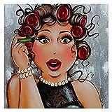 Dama de moda pintura de diamantes DIY mosaico completo taladro cuadrado 5D dibujos animados mujeres bordado de diamantes Kits de punto de cruz, cuadrado 50x50cm