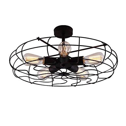 Baycheer Lámpara de techo, estilo industrial, 5 cabezales E27