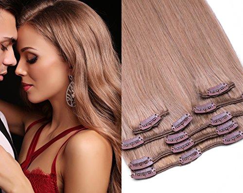 Clip In Extensions 7 – gratuits 45 pièces dans la couleur n ° 18 Blond foncé – longueur : 35, 40, 45, 55, 60, 70, 80 cm