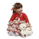 iCradle Poupées 24Inch 61cm Simulation Reborn Baby Doll habillé en Rouge Regarde Reallife Silicone Vinyle Bebe Reborn Fille Poupées Tout-Petit Jouets Cadeaux d'anniversaire