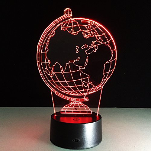LED Night Light with Globe map Pattern,7 Colors Changing with USB Cable,Touch Remote Control, Best for Children Gift Baby Bedroom and Party Decorations.
