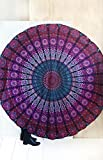 Jaipur Handloom Round Beach Tapestry Hippie/Boho Mandala Beach Blanket/Indian Cotton Throw Bohemian Round Table Cloth Mandala Decor/Yoga Mat Meditation Picnic Rugs Circle (Purple Pink, Roundie 70')