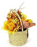 Flair Flower Arrangement aus künstlichen Chrysantheme und Sonnenblumen in Jute-Topf Kunstblume Kunstpflanze Deko Herbstdeko Herbstblumen Seidenblumen Gesteck Tischdeko Halloween Kürbis - 3