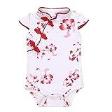 Fairy Baby Baby Girl Cheongsam Dress Short Sleeve Formal Qipao Bodysuit,18-24Months,Red Flower