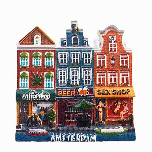 Calamita 3D per frigorifero a tema Amsterdam, ideale come souvenir, per decorare casa e cucina