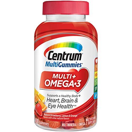 Centrum MultiGummies Omega 3 Gummy Multivitamin for Adults, Multivitamin/Multimineral Supplement, Strawberry/Lemon/Orange Flavors - 100 Count