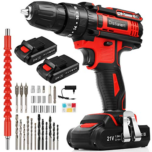 Distianert Cordless Drill Driver 21V Combi Drill Power Drill Set with 2 Batteries 80Pcs Accessories 18+3 Torque 3/8' Keyless Chuck 35Nm 2-Speed with LED Light for DIY Concrete Wood Wall