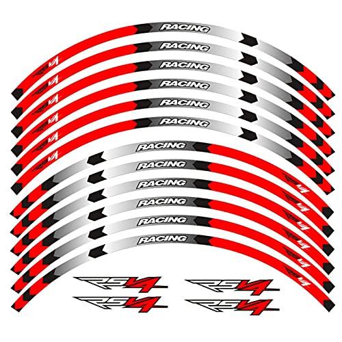 Motocicleta 17 Pulgadas de Ruedas calcomanía Reflectante Impermeable Pegatinas para Aprilia RSV4 R/RR RSV4 RF RSV4 RFW MISANANS RSV4 Factory Abs (Color : A Red)