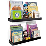 Wallniture Philly 23' Floating Shelves Kids Room Decor, Black Wall Shelves for Tray Toy Storage Set of 2