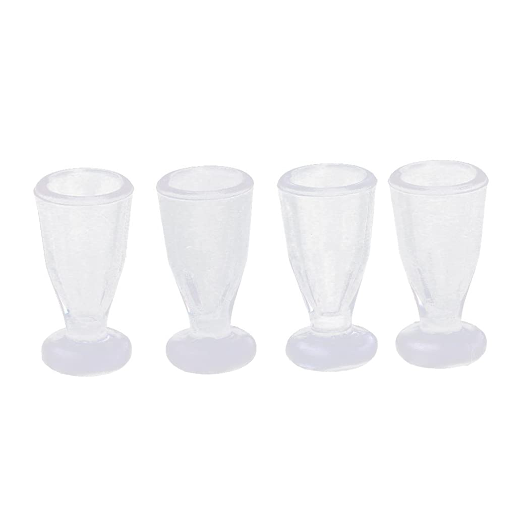 フルーツホップ成熟したミニチュア ジュースガラスカップ 4個入り ドールハウス 食器アクセサリー 1/12スケール