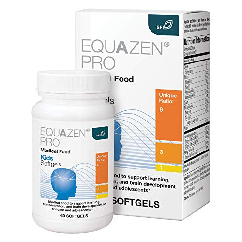 EQUAZEN PRO Fish Oil for Kids - EPA / DHA / Omega-3 Omega-6 GLA Clinically Tested to Improve Focus, Learning + Behavior in Children, Teens - DHA Supplement to Support Brain Development* (60 Softgels)