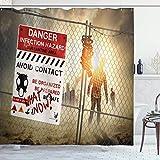ASDAH 48X72inch Cortina de Ducha Zombie Hombre Muerto Caminando en Peligro Oscuro Escenas de Miedo Ficción Infección de Halloween Tela de Tela Decoración de baño Set con Ganchos Sepia
