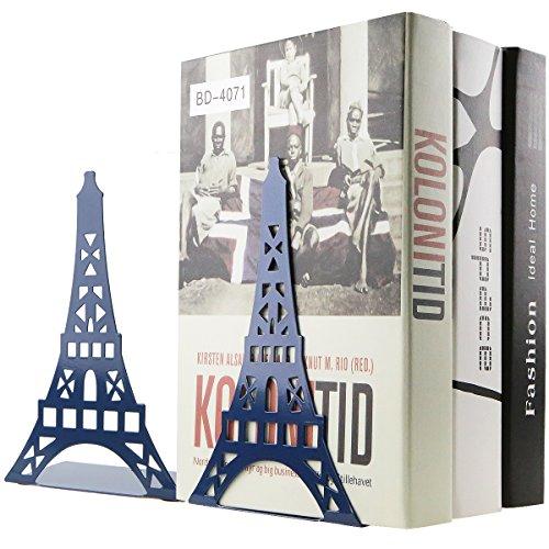 Een paar creatieve Parijs Eiffeltoren boek, organizer, metalen boekensteunen voor kinderen, schoolbibliotheek, bureau, werkkamer, thuiskantoor, decoratie, cadeau blauw