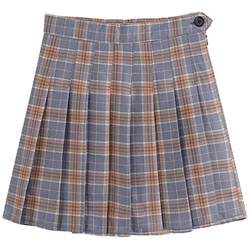 minjiSF Falda plisada para mujeres y niñas, cintura alta, plisada, plisada, para patinaje, tenis, escuela Rosa. XXL