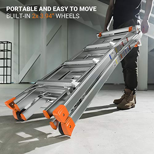 OT QOMOTOP 17 FT Multi Use Telescoping Ladder for Home, Easy to Move Rv Aluminum Extension Ladder with 2 Flexible Wheels, Non-Slip Design Step Ladder with 300lbs Duty Rating