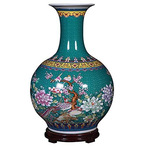 ZWMG Florero para Flores Jingdezhen pintó cerámica Gran jarrón Chino Vintage al Marco de Techo, Utilizado para la decoración del hogar o los Regalos.Altura 21.6 Pulgadas (55 cm) (no Incluye la Base)