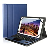Feelkaeu Teclado Bluetooth Inalámbrico 3.0 QWERTY Español con Multi Touchpad con Funda PU Cuero Soporte - Compatible 9.6'/9.7'/10.1' Cualquier Windows/Android Tablet Azul