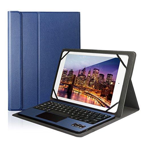 Besmall Tastiera Wireless Touch Bluetooth, layout tedesco (QWERTZ), per Windows Tablet/Android Smartphone blu Dunkelblau Mit H��lle
