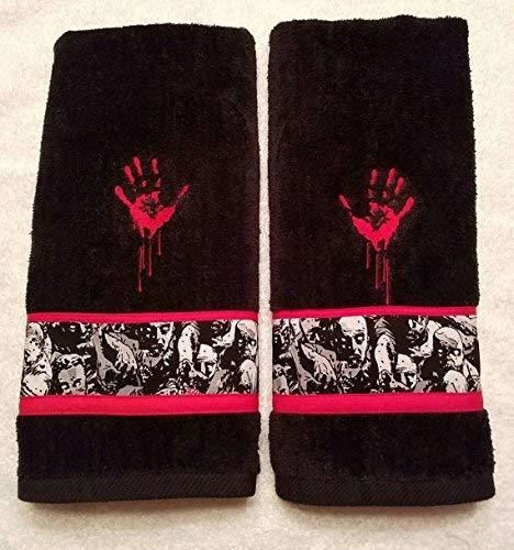 Zombie Bathroom Black Hand Towel Set