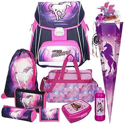 Spirit Magic Unicorn Einhorn Schul-Ranzen-Set 10tlg. mit Sporttasche,Schultüte, Schultüten-Schmuckset, Trinkflasche und Brotdose
