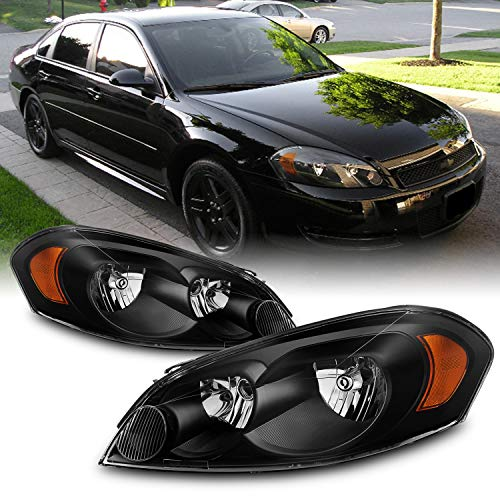 AKKON - For Chevy Impala/Monte Carlo OE Replacement Black Bezel Headlights Driver/Passenger Head Lamps Pair New