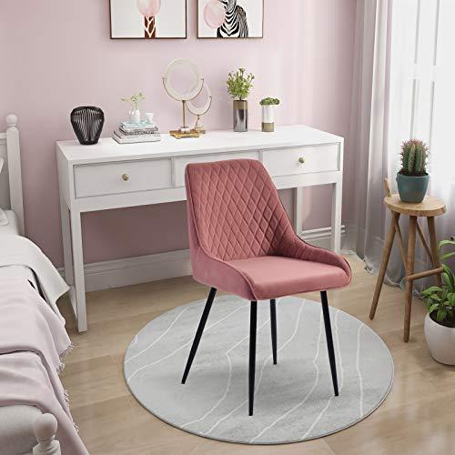SMLJFO Silla de comedor de terciopelo tapizado con patas de metal y respaldo de cocina, dormitorio, sala de estar, muebles para el hogar, color rosa