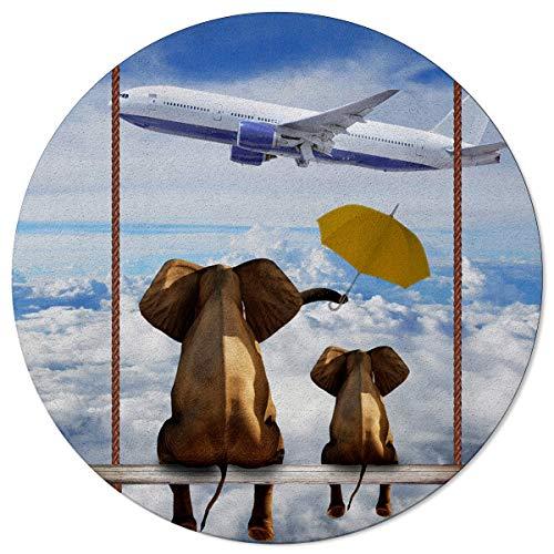 OneHoney Round Area Rugs 6ft, Funny Elephants Watching Airplane Indoor Throw Runner Circle Rug Entryway Doormat Floor Carpet Pad Yoga Mat for Bedroom Living Room Blue Sky