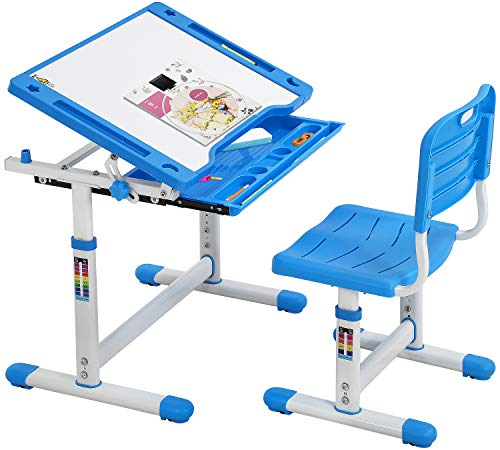 FDW Height Adjustable Multifunctional Children's Study Desk Table Chair Set with Drawer for Kids (Blue)