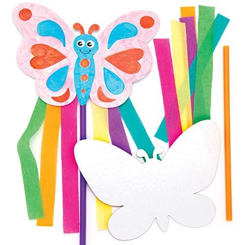 """Baker Ross Stabfiguren-Bastelsets """"Schmetterlinge"""" (6 Stück) – Stabfiguren mit Schmetterlingen für Kinder zum Basteln und Schmücken"""