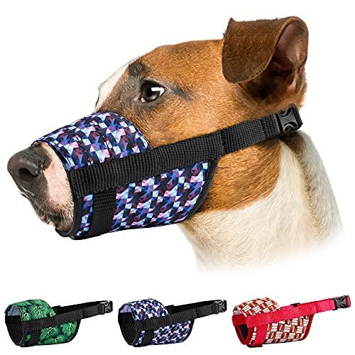 Murom Dog Muzzle Adjustable Nylon Soft Print Mouth Cover Design Pattern Anti Biting Barking Pet Muzzles Small Medium Large (Gradient, S)