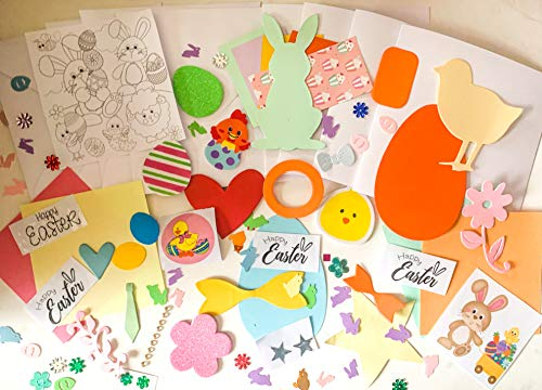 Wooden Dreams New Improved Children's Easter Card Making Kit, makes 4 cards includes cards, envelopes, shapes, papers, embellishments and more