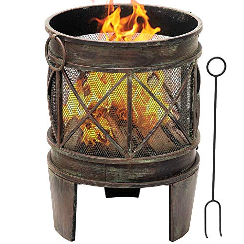 Outdoor Fire Pit 23Inch Portable Fire Bowl with Spark Screen and Poker Extra Large Deep Rustproof Fire Brazier Wood Burning Fire Basket Garden Heater Fireplace Patio for Backyard Camping BBQ