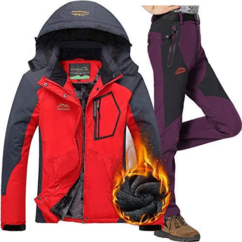 JSGJHXF2018 Skipak voor dames, voor buiten, waterdicht, ademend, fleece, sneeuw, snowboard-jas en broek, vrouwelijke thermische skikleding, set