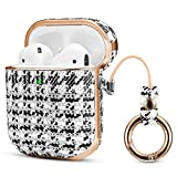Jobese Compatible with Airpods Case, PU Leather Protective Shockproof Cover with Keychain Compatible with Airpods 2 & 1 Cases Support Wireless Charging [Front LED Visible]